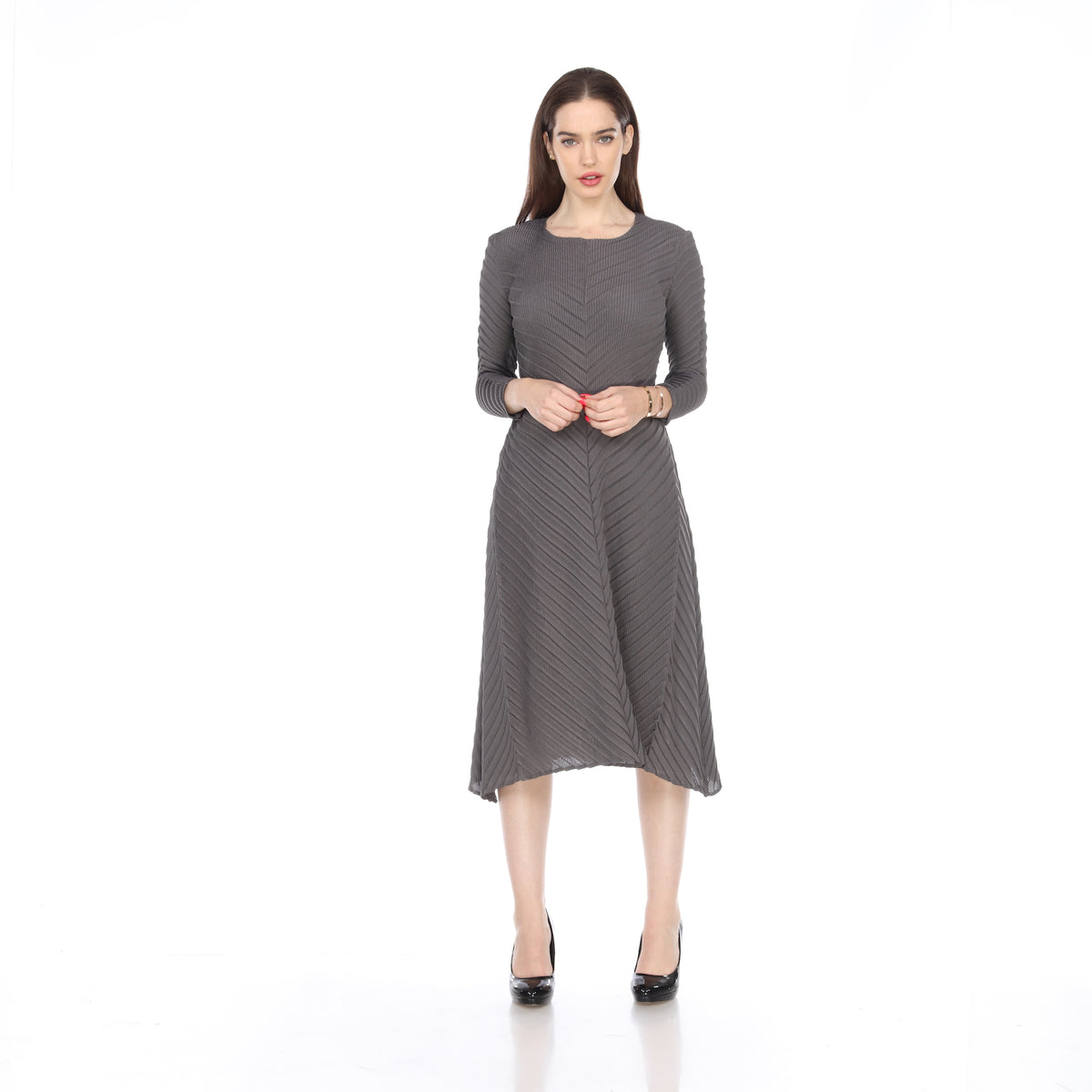 Long Sleeve ZigZag Crinkle Dress - Gray