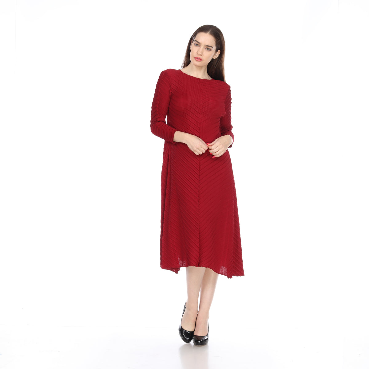 Long Sleeve ZigZag Crinkle Dress - Red