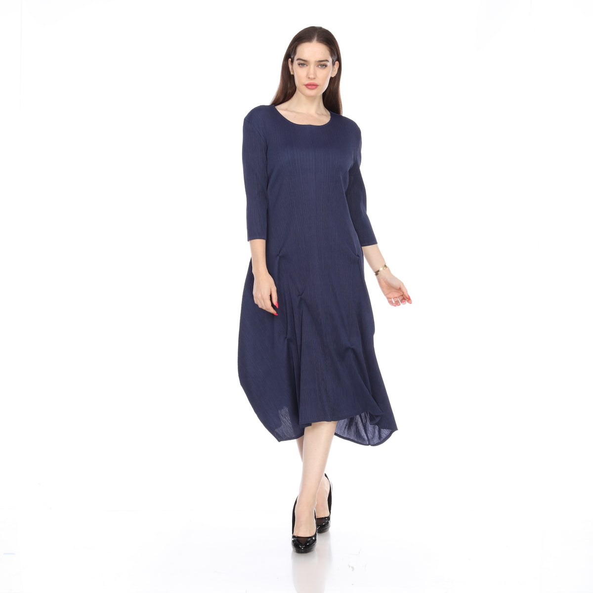 3/4 Sleeve Skirt Stitched Dress - Navy