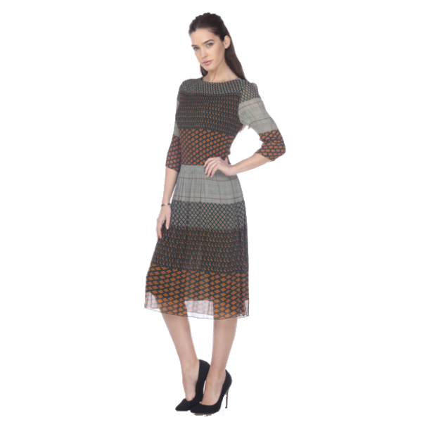 3/4 Sleeve Crinkle Print Dress  - Brown Multi