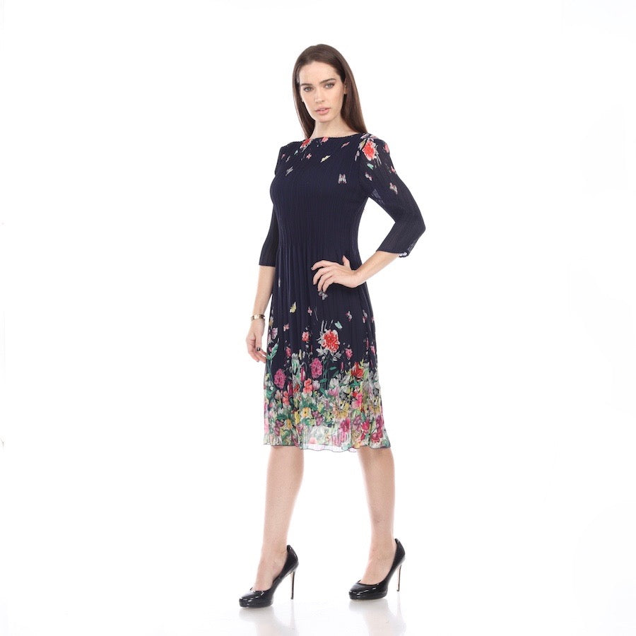 3/4 Sleeve Print Crinkle Dress - DR1021