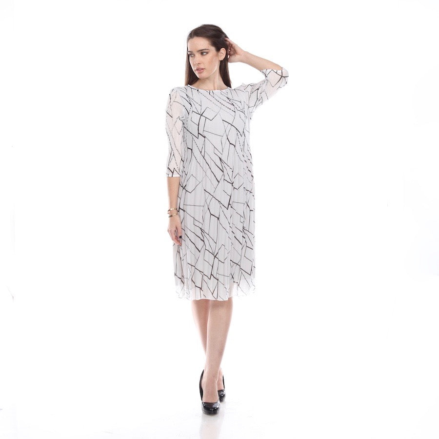 3/4 Sleeve Print Crinkle Dress - DR1022