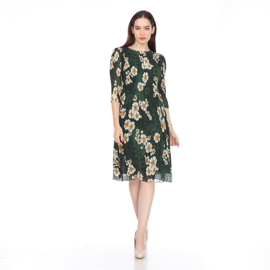 3/4 Sleeve Print Crinkle Dress