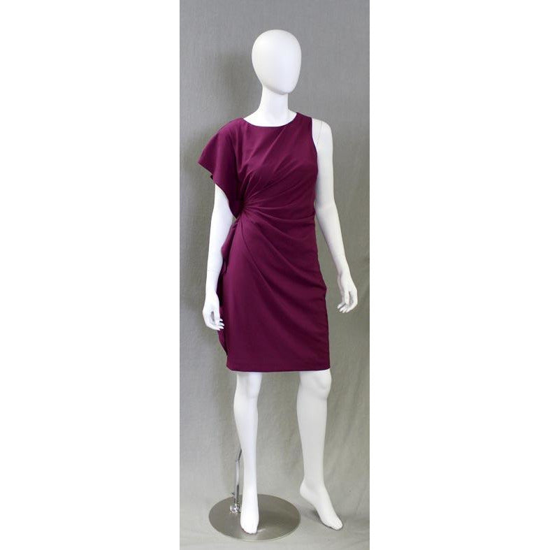 Asymmetrical Crinkle Dress - Berry