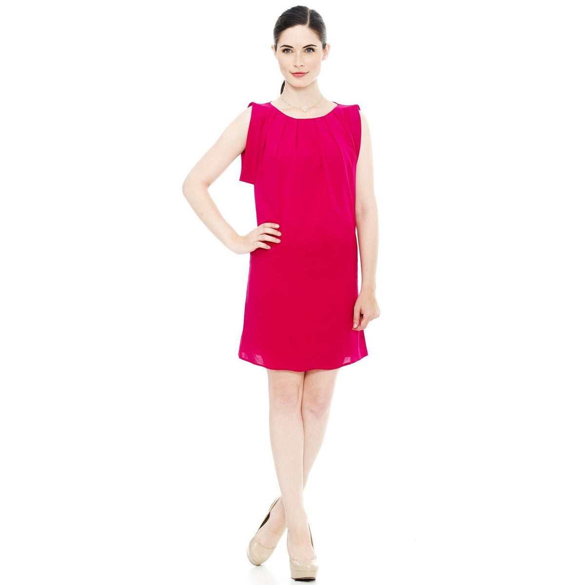 Dropped Armhole Shift Crinkle Dress - Berry Pink