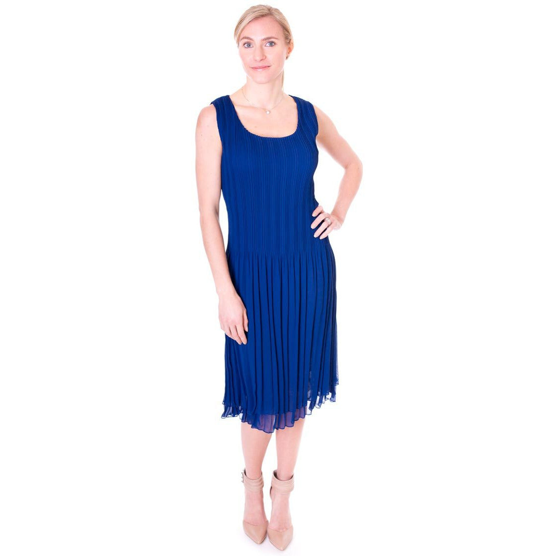 Pleated Bodice Crinkle Dress - Sapphire Blue