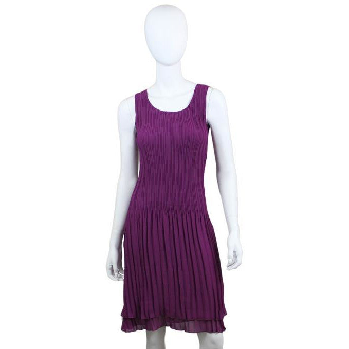 Pleated Bodice Crinkle Dress - Purple