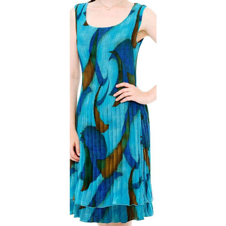Printed Crinkle Geo Print Dress - Teal
