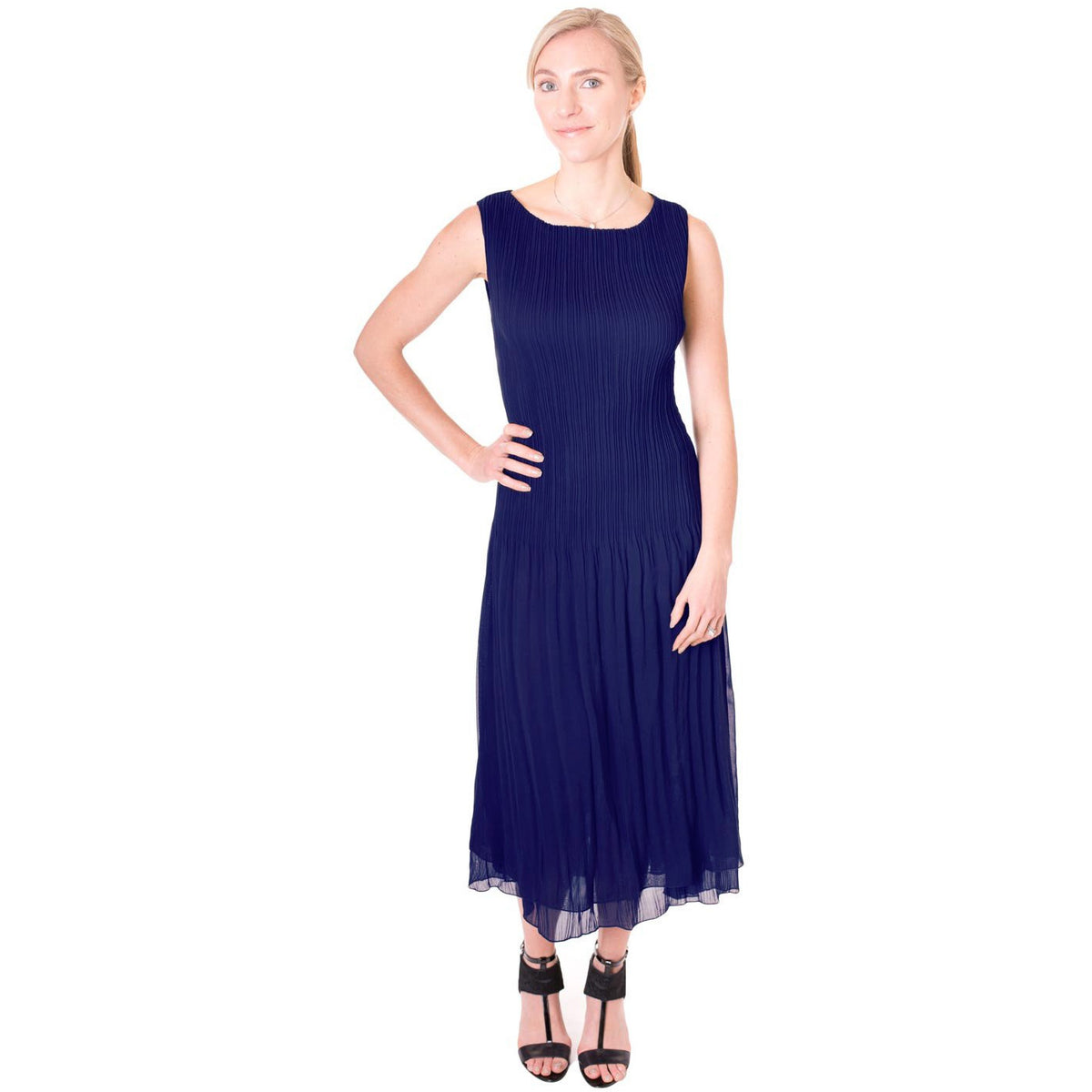 High Neck Crinkle Dress - Navy