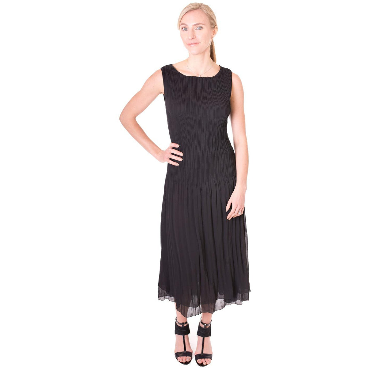 High Neck Crinkle Dress - Black
