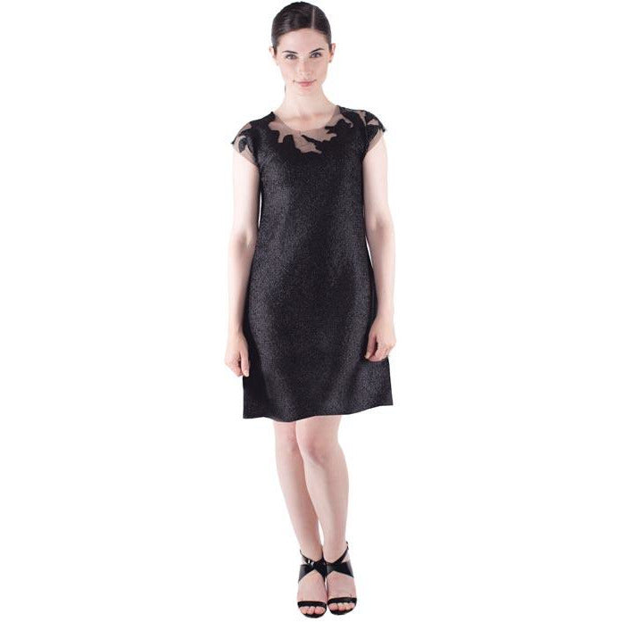 Tulle Neck Sheath Dress - Black