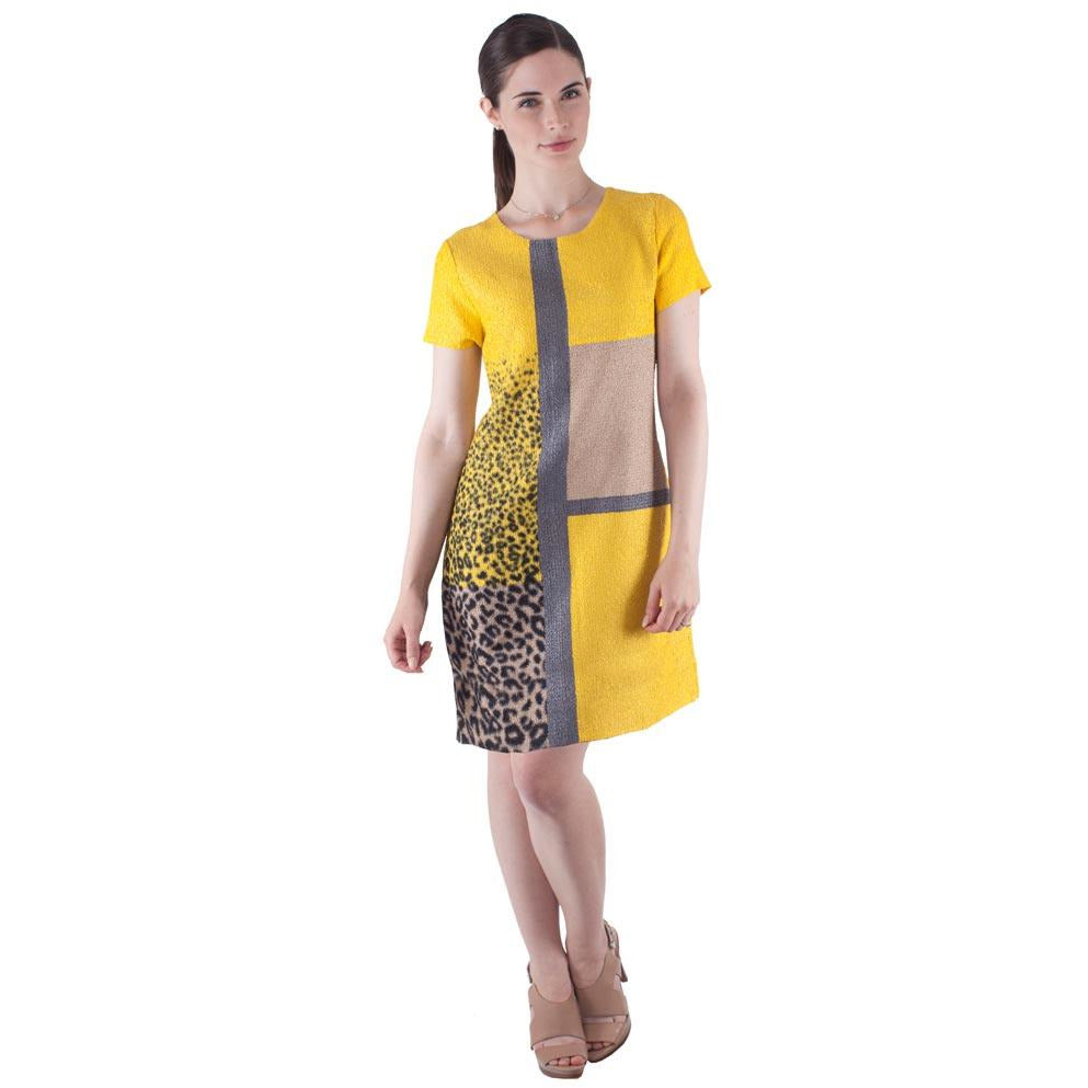 Short Sleeve Multi Tone Sheath Crinkle Dress - Buttercup
