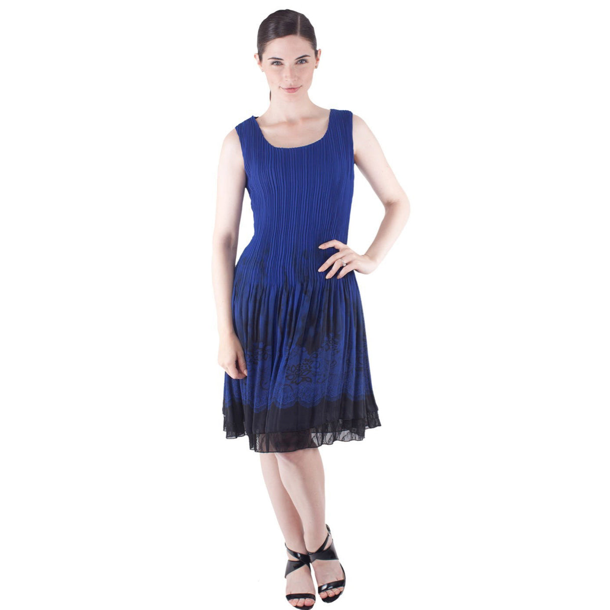 Sleeveless Lace Border Print Crinkle Dress - Sapphire Blue