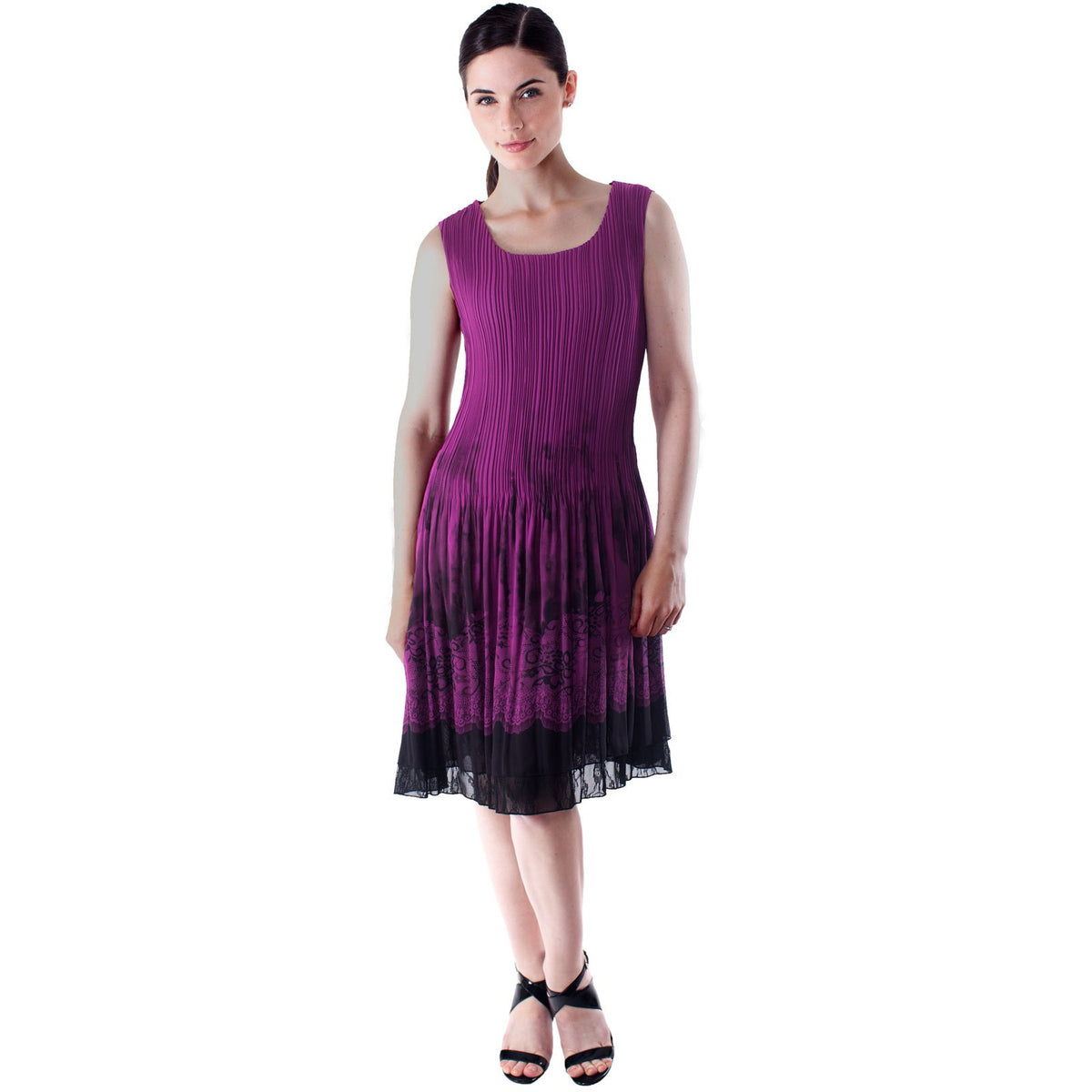 Sleeveless Lace Border Print Dress - Purple