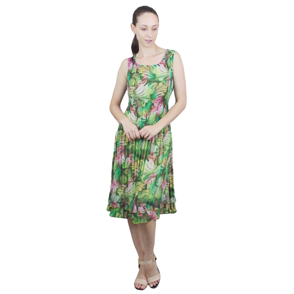 Sleeveless Spring Print Crinkle Dress - Green