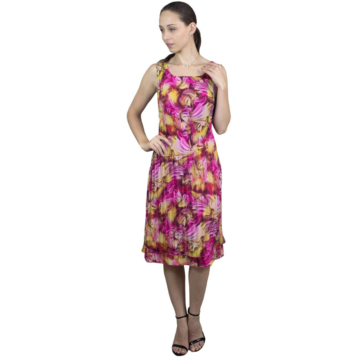 Sleeveless Spring Print Crinkle Dress - Pink