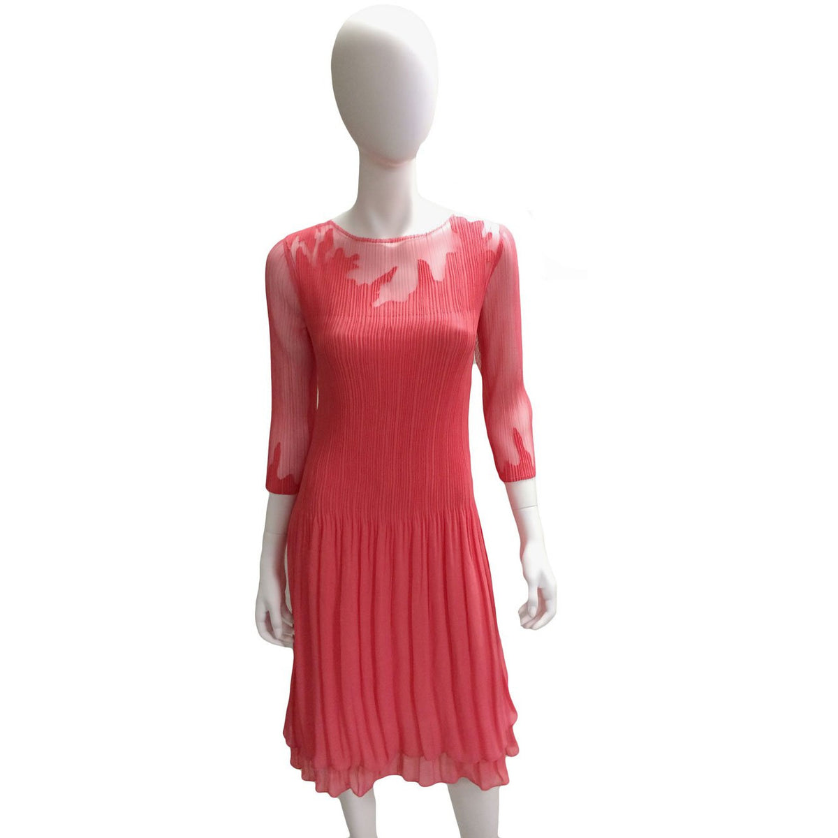 Leaf Illusion 3/4 Sleeve Dress - Coral