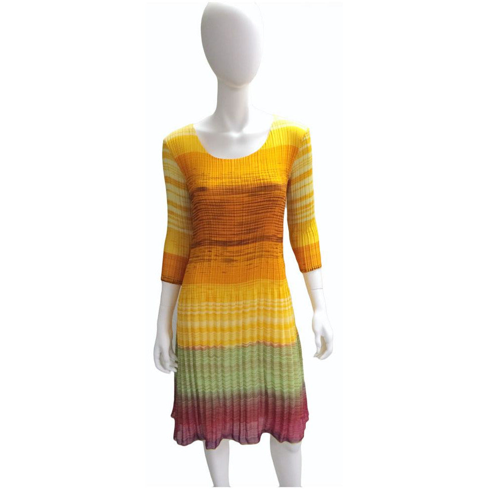 3/4 Sleeve Stripe Print Crinkle Dress - Yellow