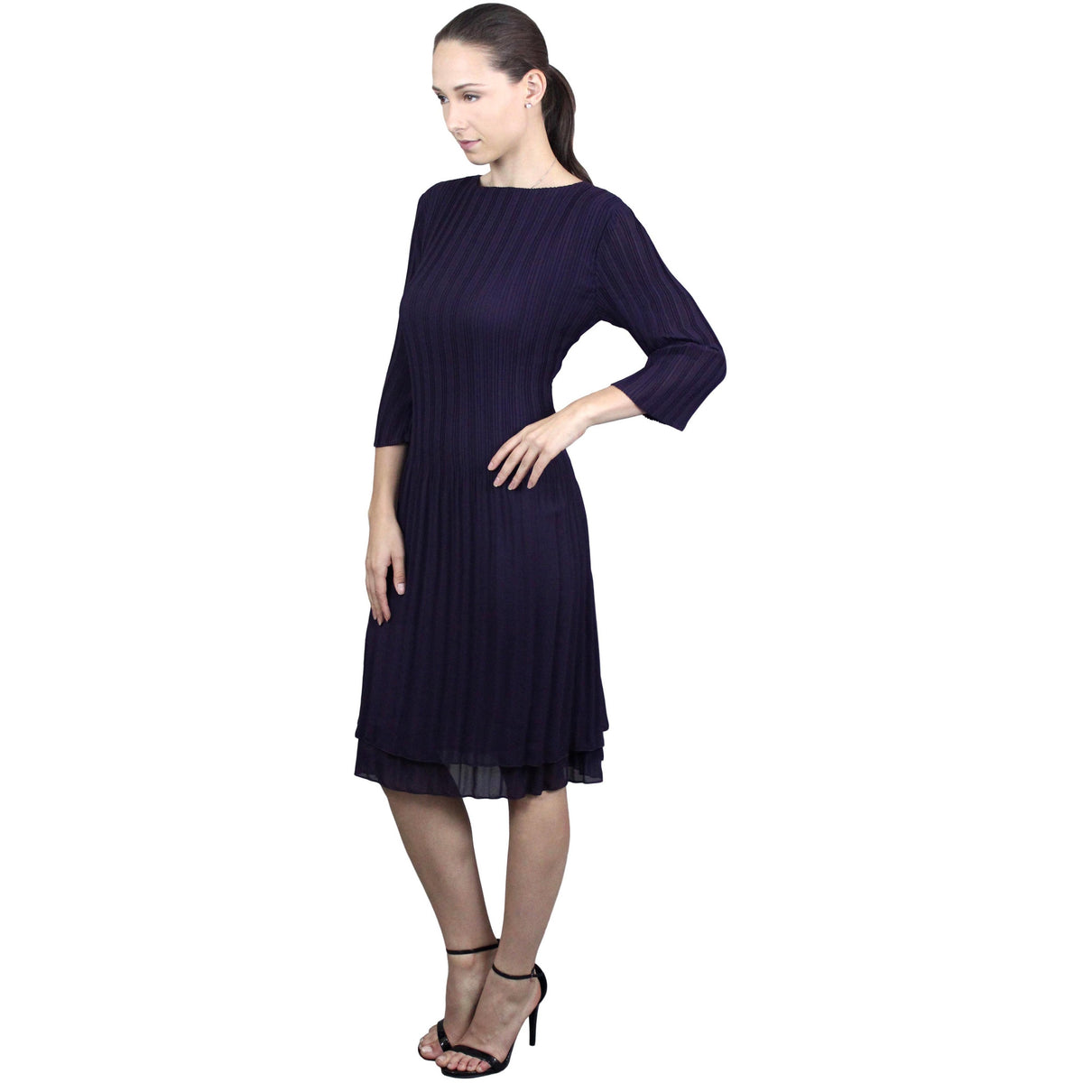 High Neck 3/4 Sleeve Crinkle Dress - Eggplant