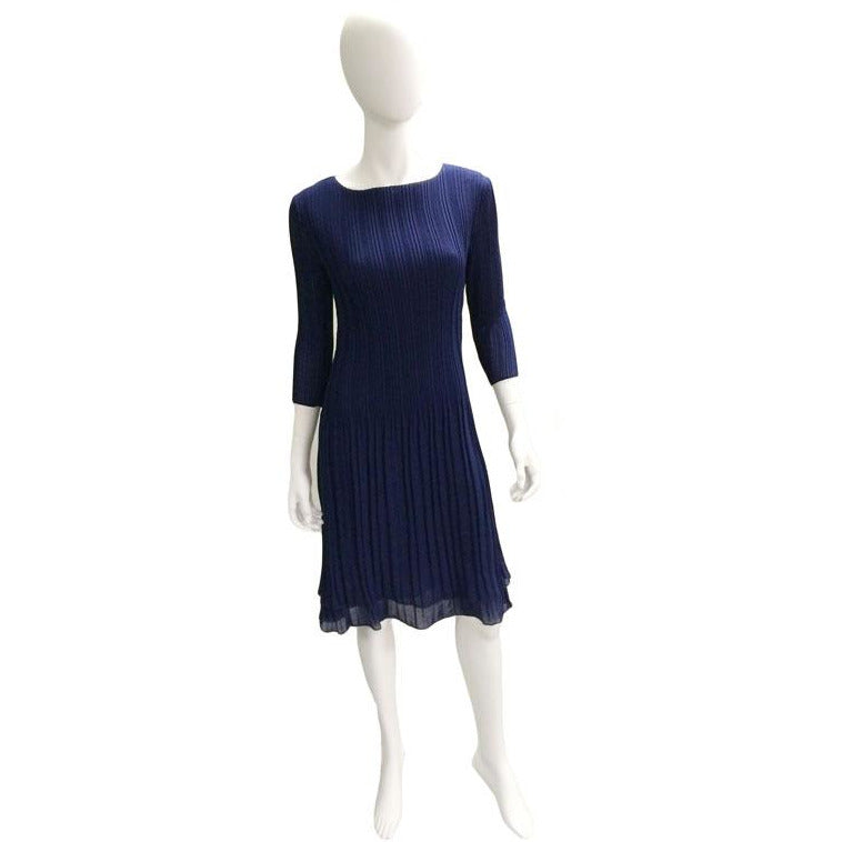 High Neck 3/4 Sleeve Crinkle Dress - Navy