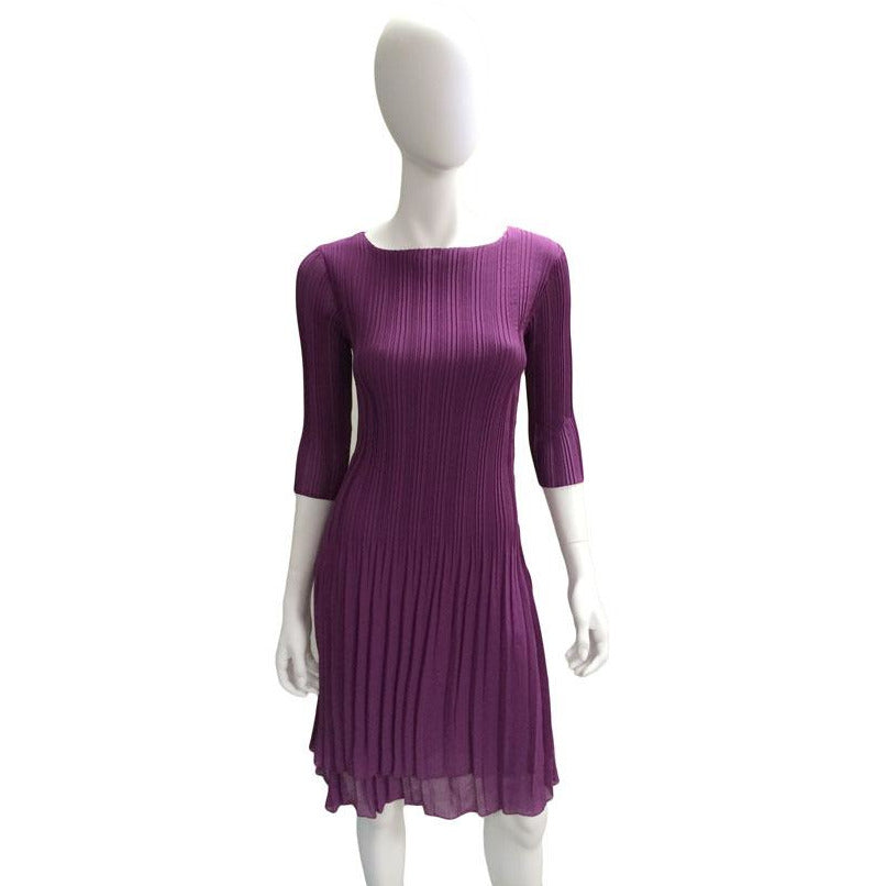 High Neck 3/4 Sleeve Crinkle Dress - Plum