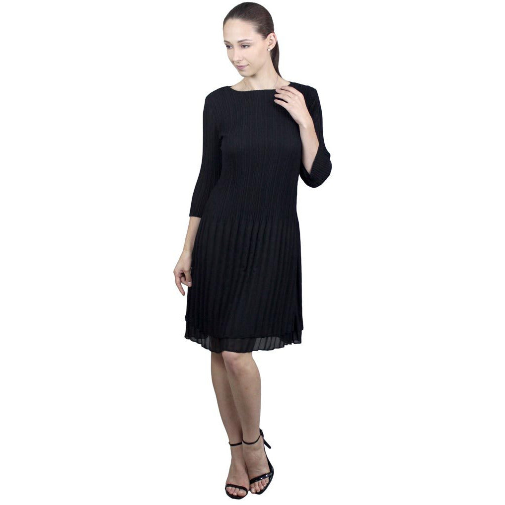 High Neck 3/4 Sleeve Crinkle Dress - Black