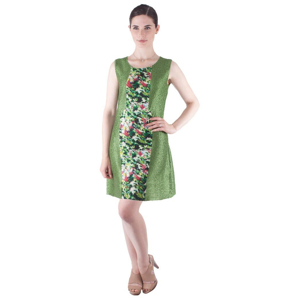 Two Tone Printed Sheath Crinkle Dress - Green