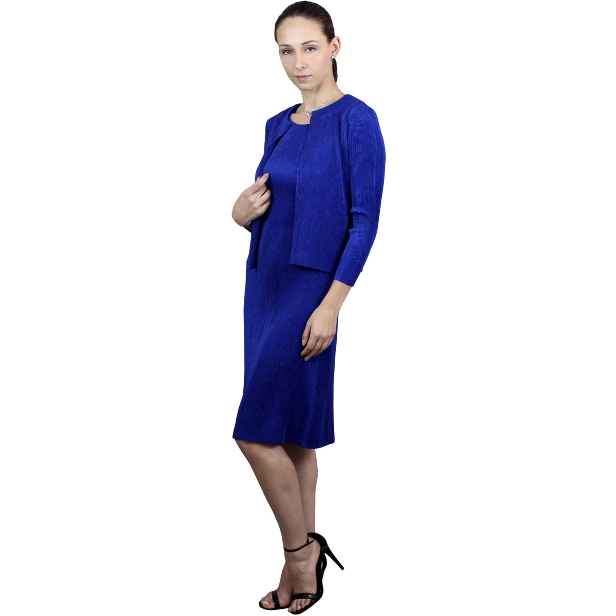 Classic Crinkle Dress - Sapphire Blue