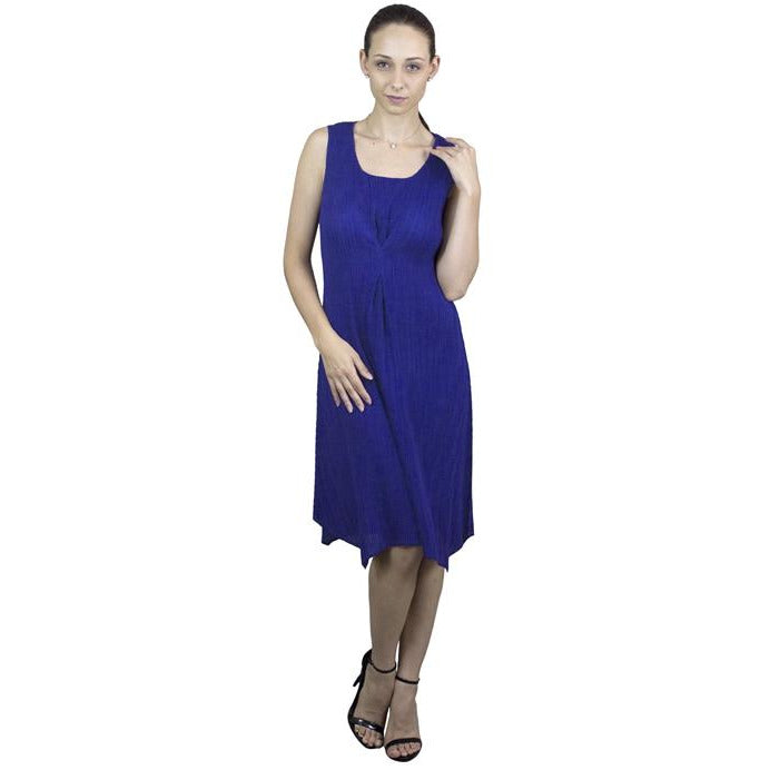 Pinched Pleated Crinkle Dress - Blue