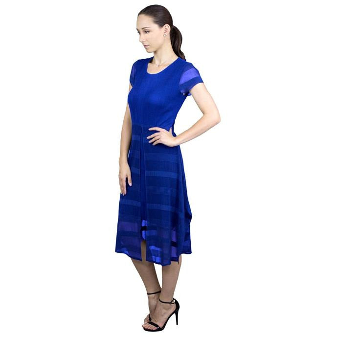Cap Sleeve Split Overlay Crinkle Dress - Blue