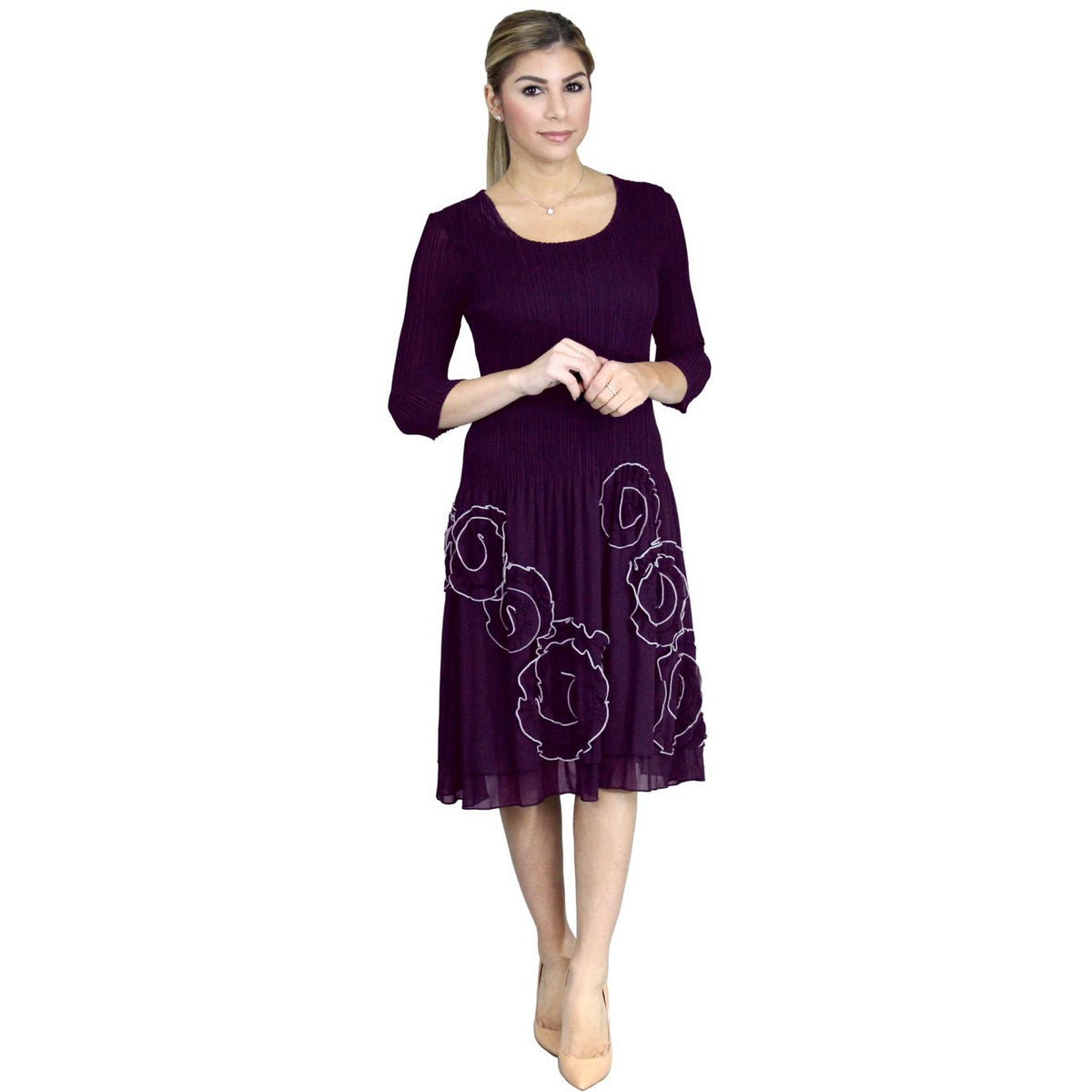 3/4 Sleeve Swirl Stitch Dress - Eggplant
