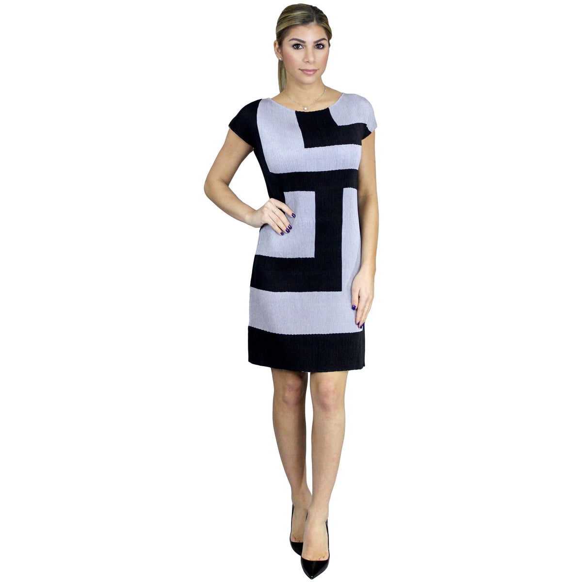 Colorblock Crinkle Sheath Crinkle Dress - Black