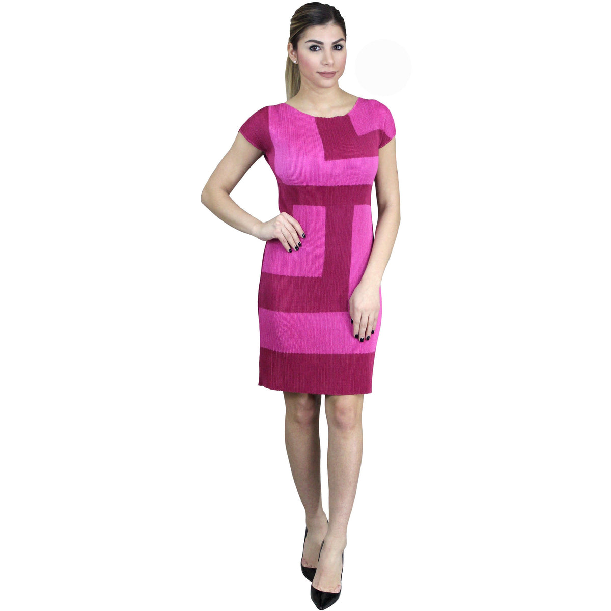 Colorblock Crinkle Sheath Crinkle Dress - Rose