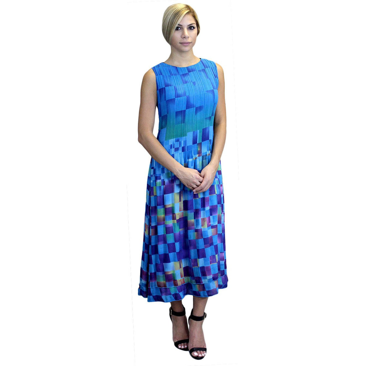 Checker Print Maxi Crinkle Dress - Blue