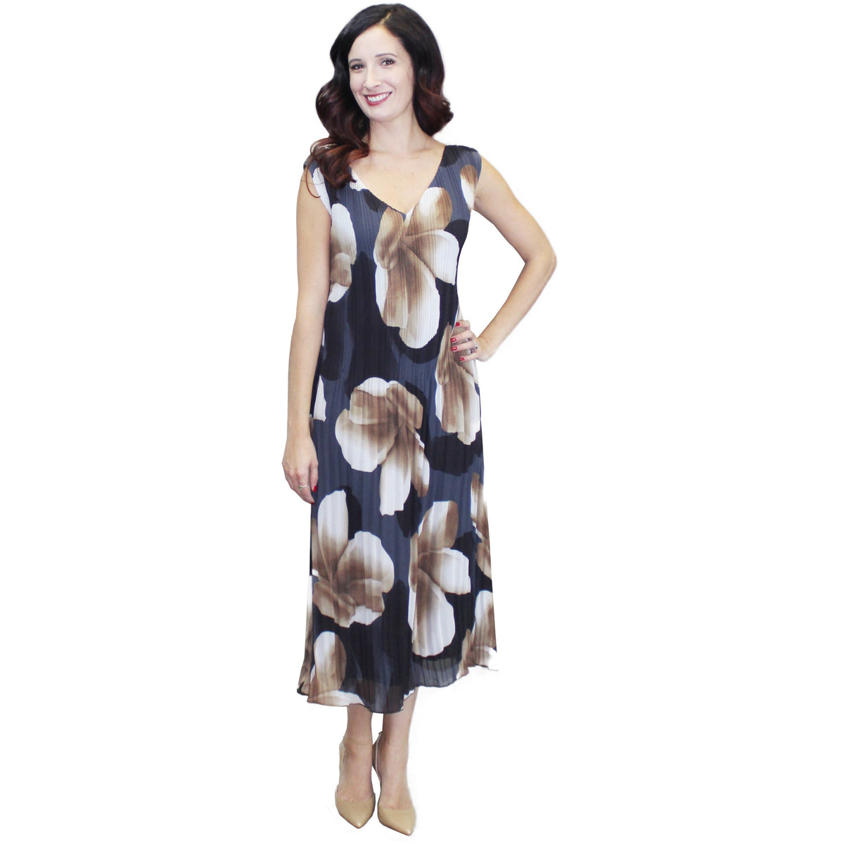 Large Flower Print Crinkle Dress - Tan