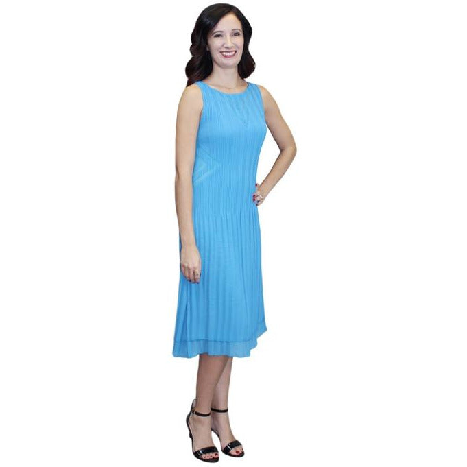 Illusion V Neck Crinkle Dress - Light Blue