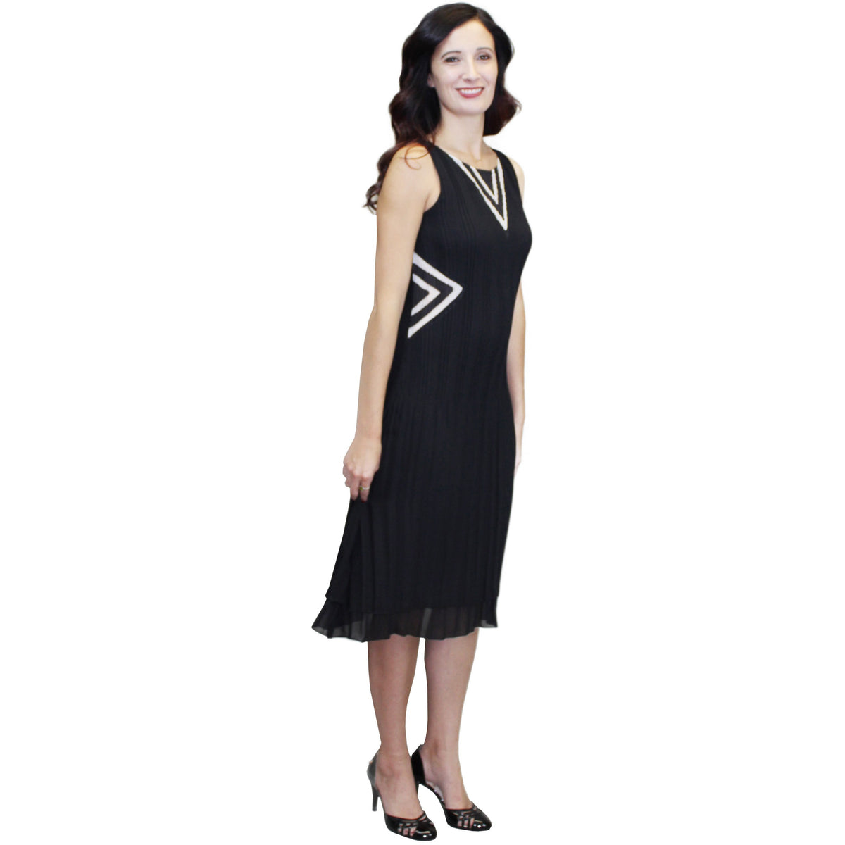 Illusion V Neck Crinkle Dress - Black