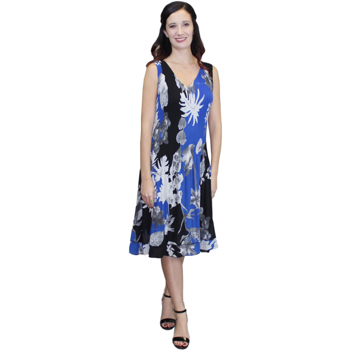 V-Neck Print Crinkle Dress - Blue