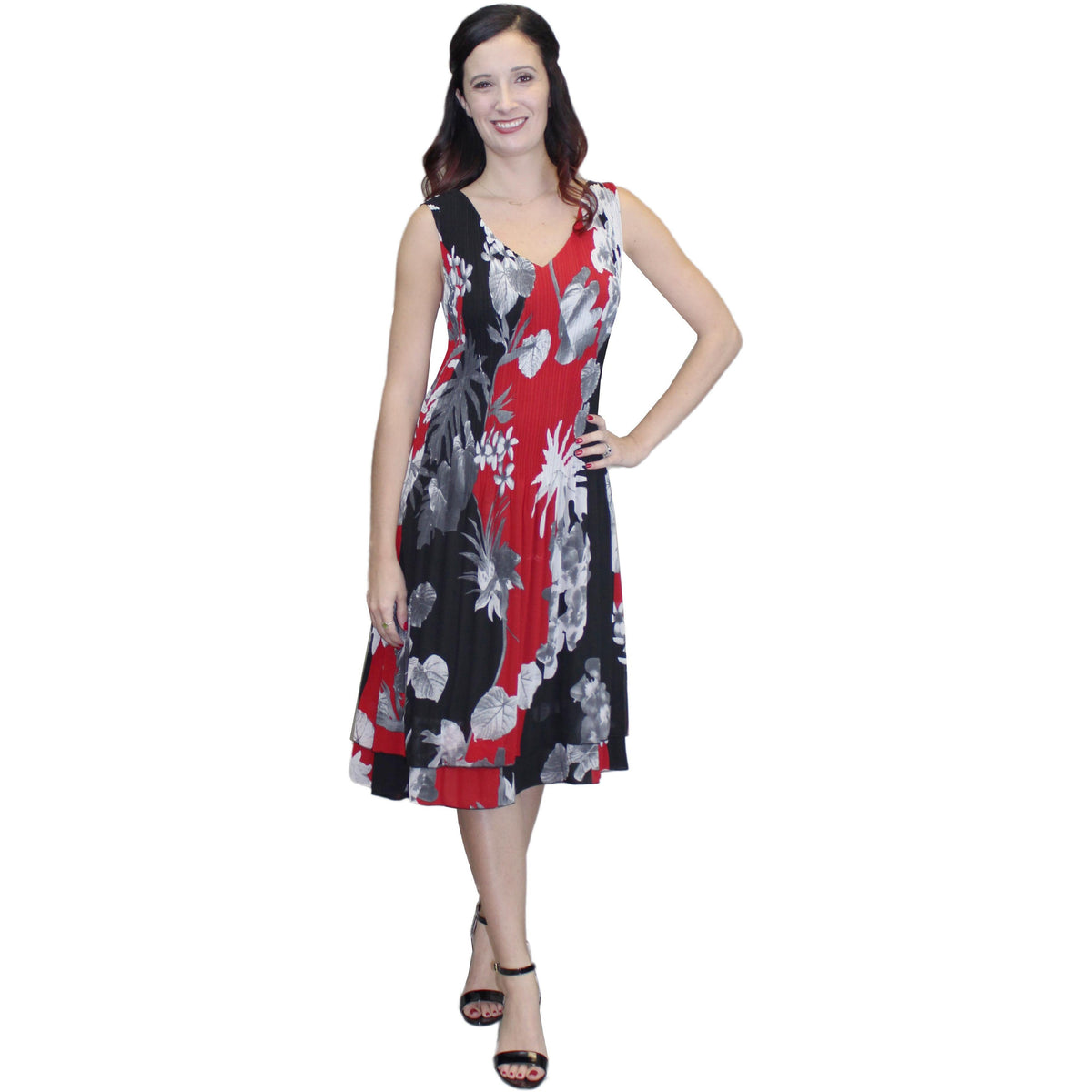 V-Neck Print Crinkle Dress - Red
