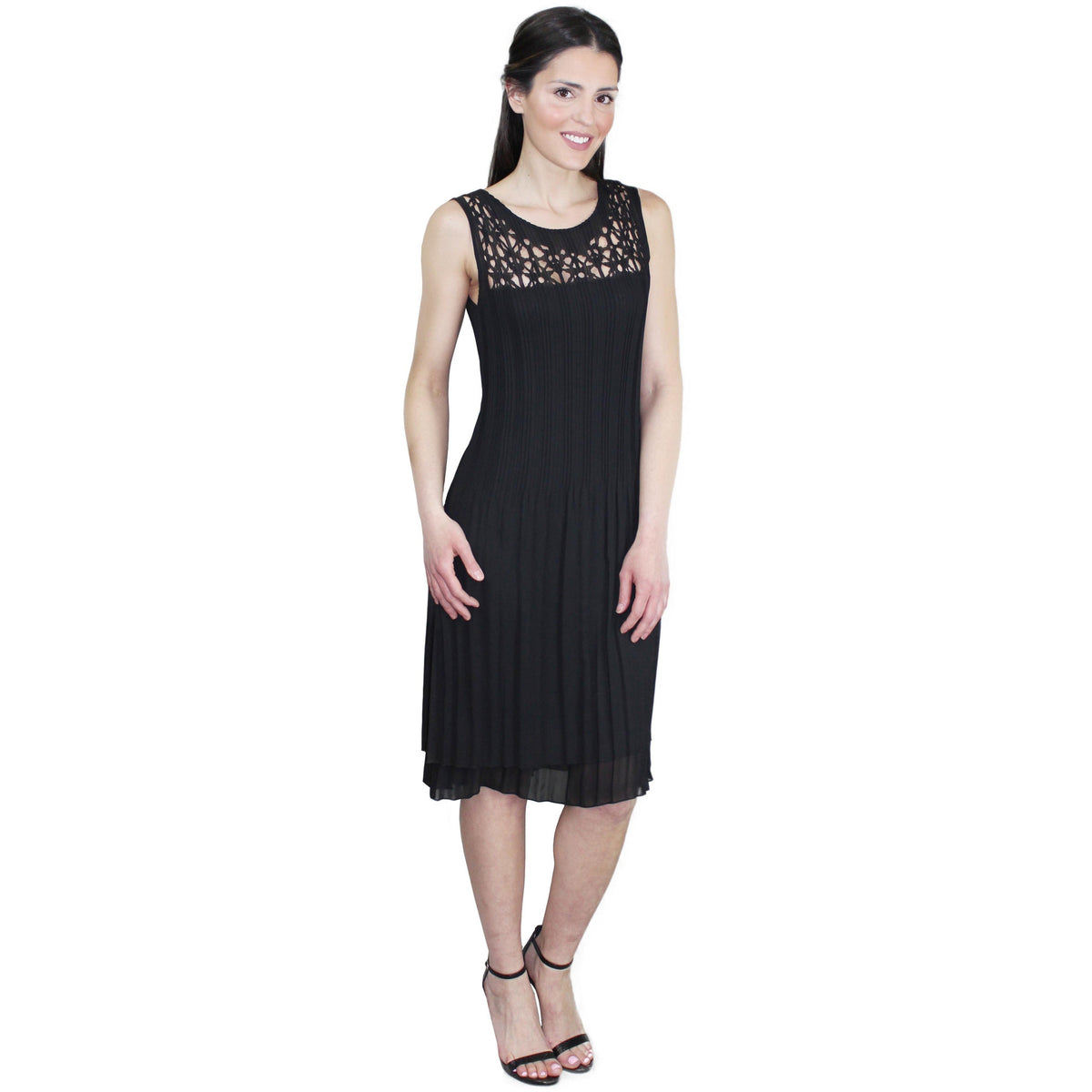 Star Laser Cut Crinkle Dress - Black