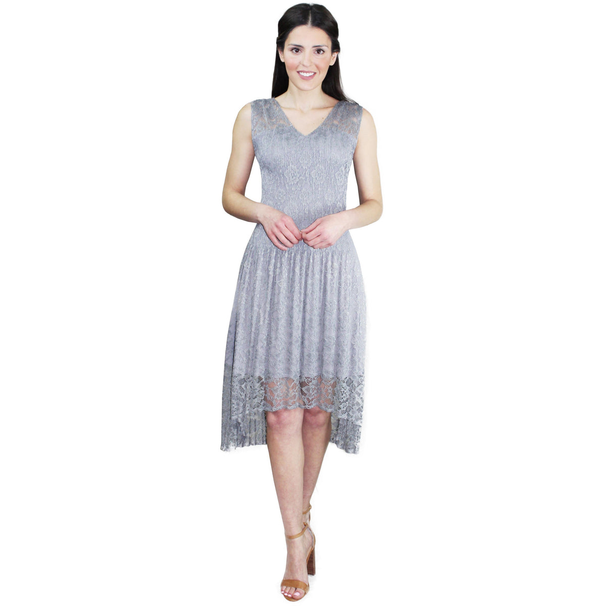 High-Low Lace Crinkle Dress - Gray
