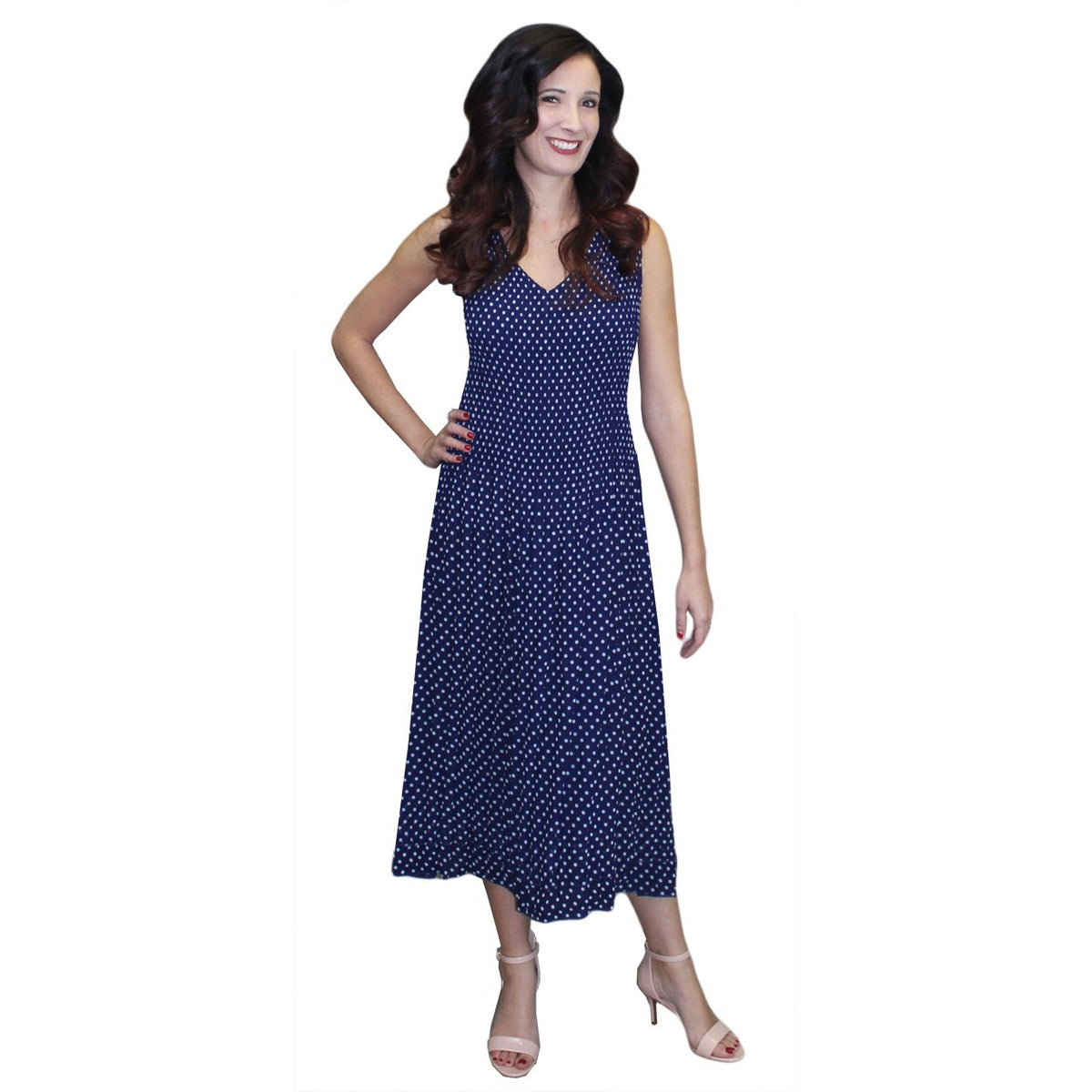 Dot Print Crinkle Dress - Navy