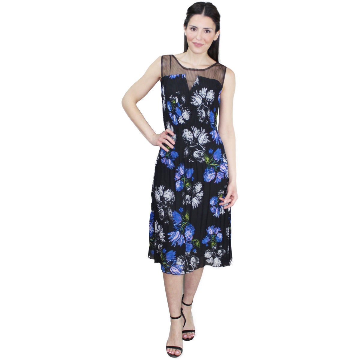 Sleeveless Illusion Floral Crinkle Dress - Blue
