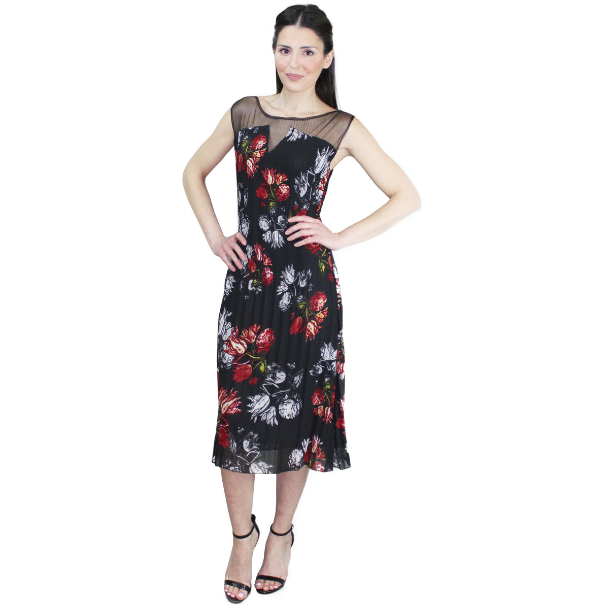 Sleeveless Illusion Floral Crinkle Dress - Red