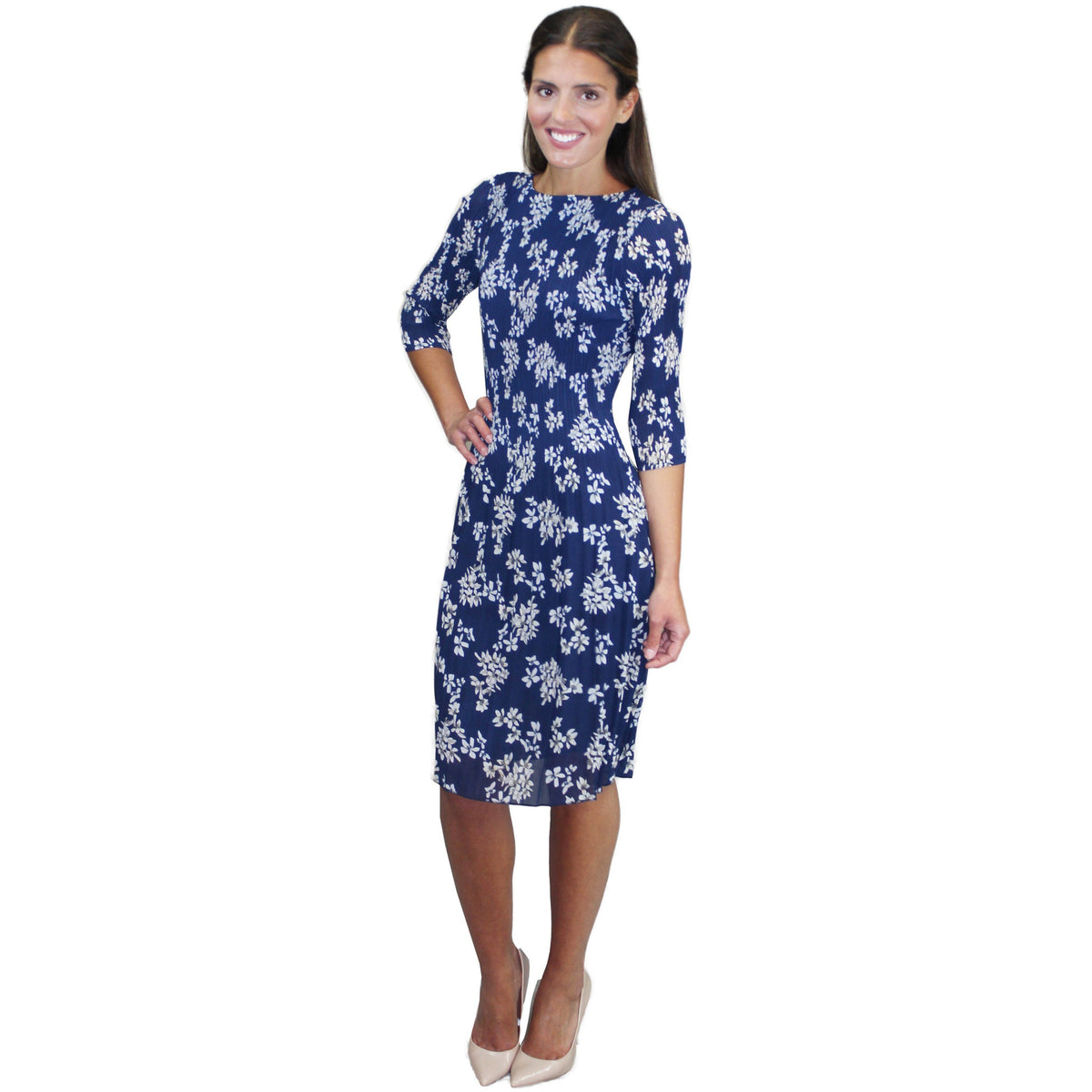 3/4 Sleeve Crinkle Dress - Navy