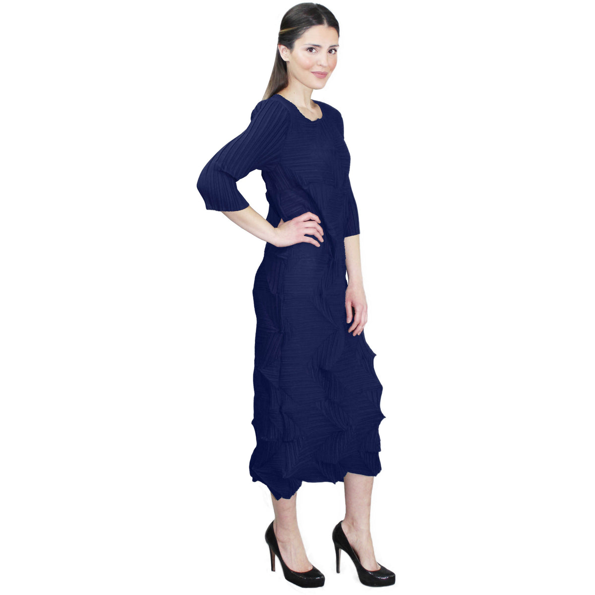 Origami Crinkle Dress - Navy