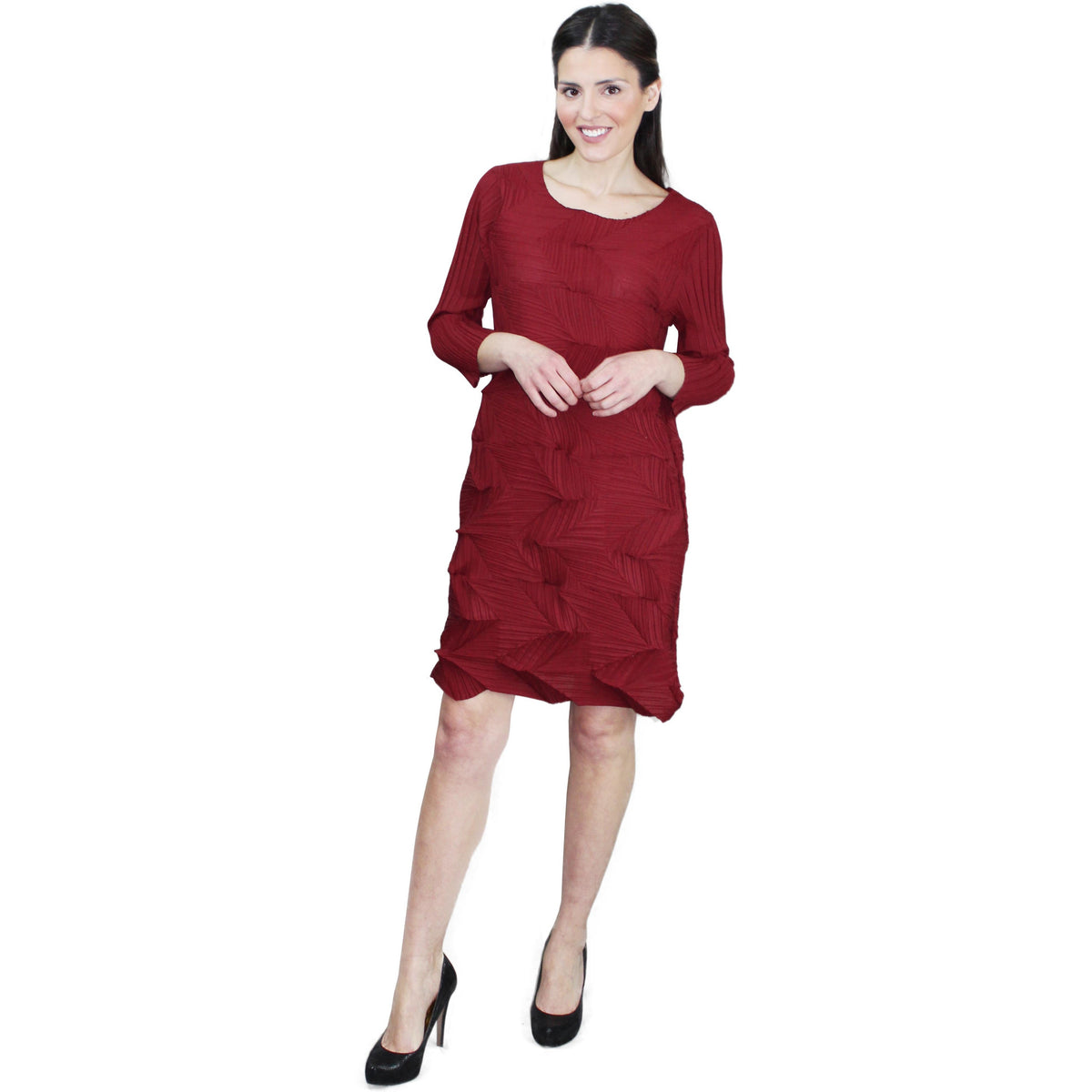 Origami Crinkle Dress - Burgandy