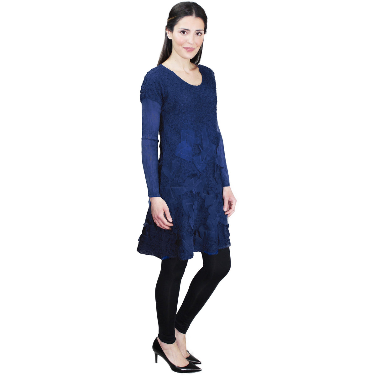 Embellished Tunic Crinkle Dress - Navy
