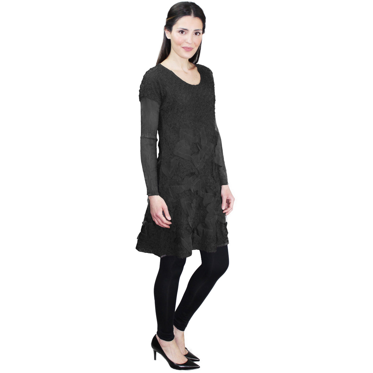 Embellished Tunic Crinkle Dress - Black