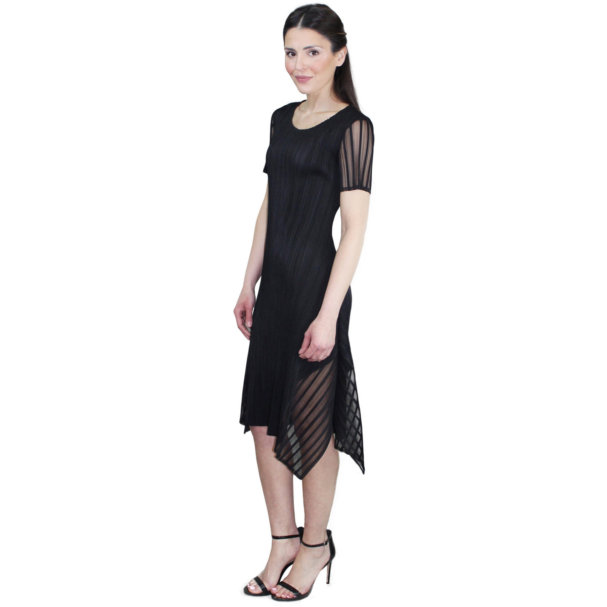 Cap Sleeve Illusion Crinkle Dress - Black